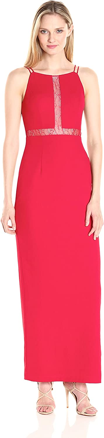 Aidan Mattox Womens Long Crepe Gown with Lace Illusion Detail Dress