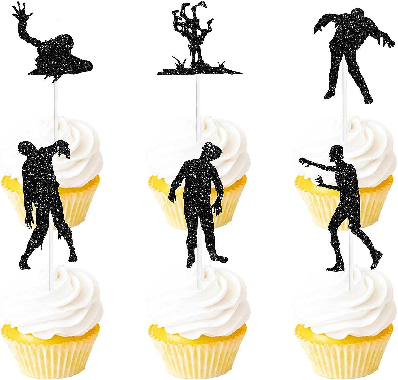 Halloween Horror Killer Zombie Silhouette Dessert Cupcake Topper Black Glitter Fantasy Theme Decorations Boys Girls Woman Man Happy Birthday Party Decor Supplies Set 18pcs