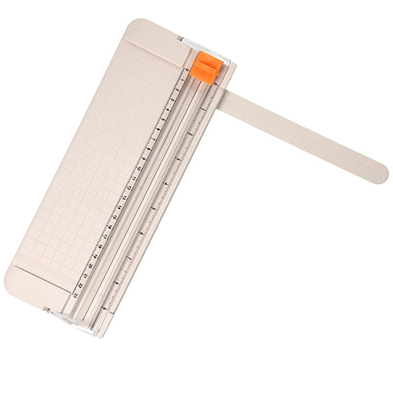 Work4U 9 Inch Paper Cutter, A5 Portable Scrapbooking Trimmer, Creamy White