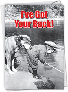 NobleWorks, Got Your Back - Retro Friendship Greeting Card - Classic, Retro Dog and Kid Note Card with Envelope C6342FRG
