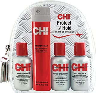 CHI Protect & Hold Travel Kit with Infra Shampoo, Infra Treatment, Silk Infusion and Helmet Head Hair Spray