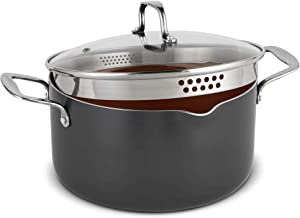 VonShef Casserole and Pasta Multi Pot with Strainer Lid, Easy Clean, Non-Stick Copper-Colored Interior, Stainless Steel Handles and Tempered Glass Lid, Induction Hob Ready, Copper, 5 Quart Capacity