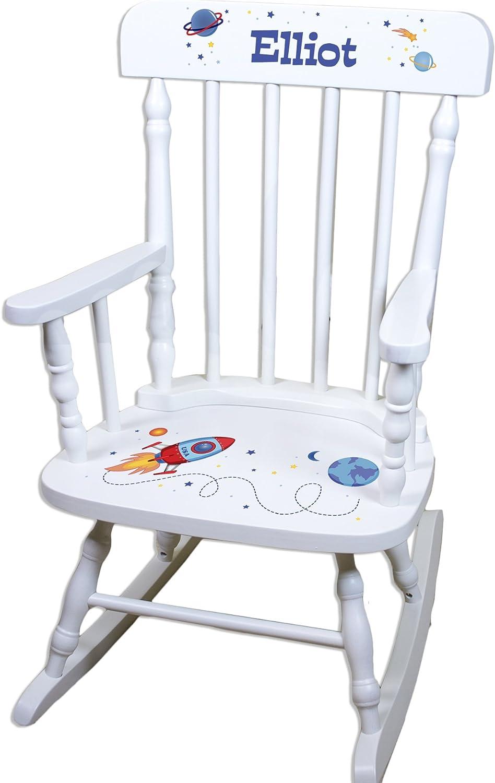 Ranking Regular discount TOP20 Children's Personalized White Rocking Chair Rocketship