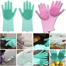 HEMIZA Zamkar Trades Silicone Scrubbing Cleaning Gloves with Scrubber for Dishwashing and Pet Grooming, Medium, Multicolour - 1 Pair