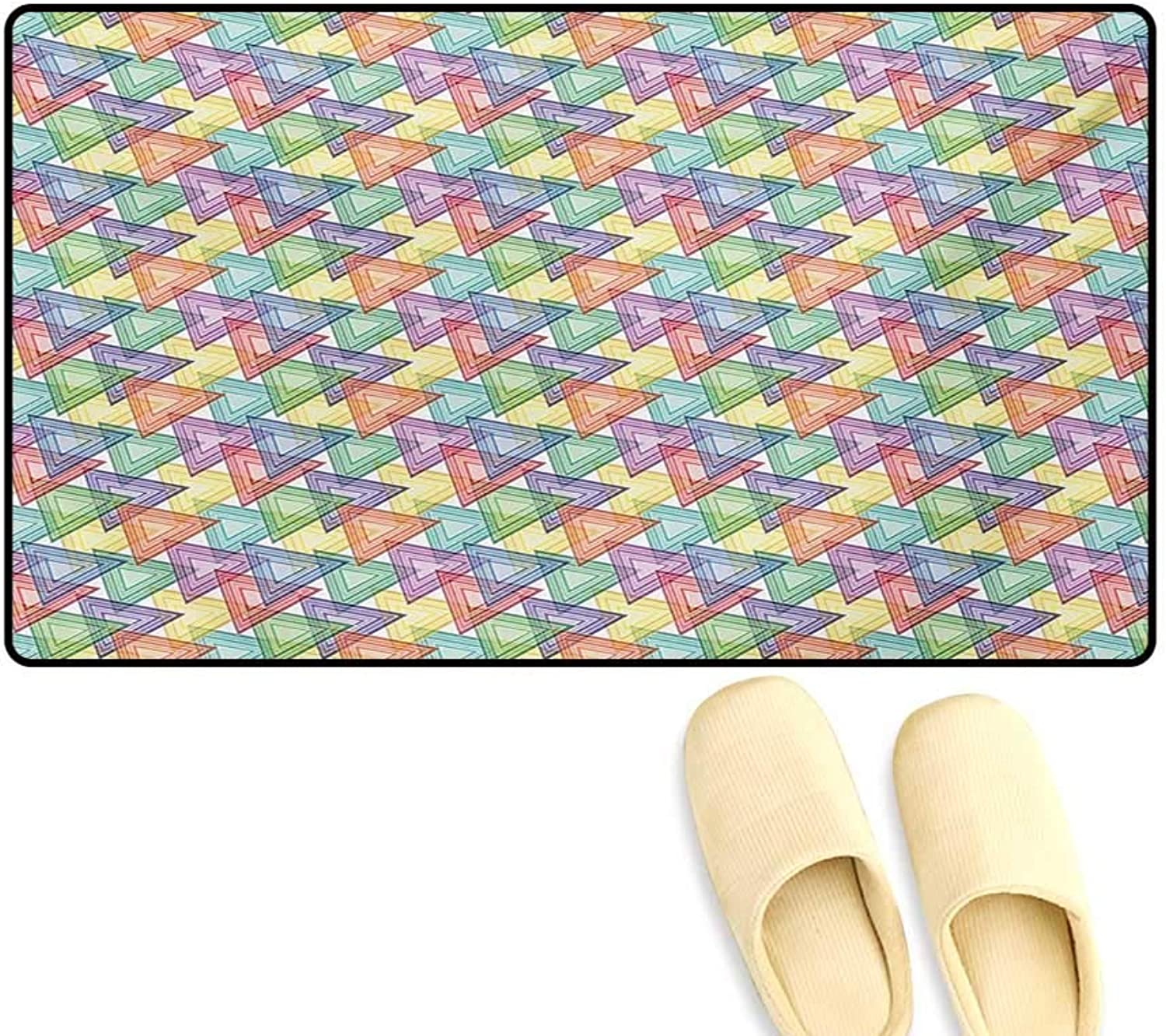 Door-mat,colorful Inner Triangles Vibrant Old Fashioned Forms Hippie Artsy Illustration,Bathroom Mat for Tub Non Slip,Multicolor,20 x32