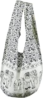 BTP! Elephant Floral Print Sling Crossbody Shoulder Bag Purse Hippie Hobo Thai Cotton Gypsy Bohemian Large