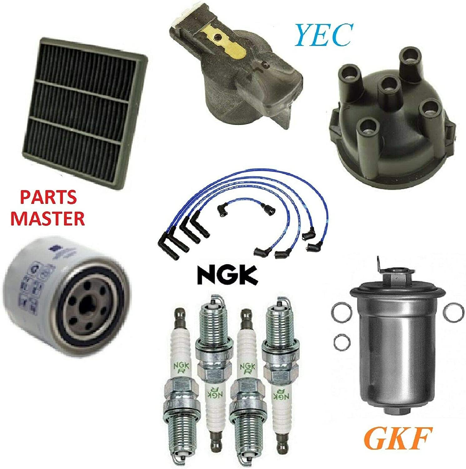 8USAUTO Tune Up Kit 定番スタイル Air Oil Fuel Wire 休日 Rotor Pl Filters Spark Cap
