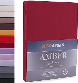 DecoKing Drap-Housse en 100% Coton Peigné Jersey, Amber Collection, 200x220-220x240 cm, Bordeaux