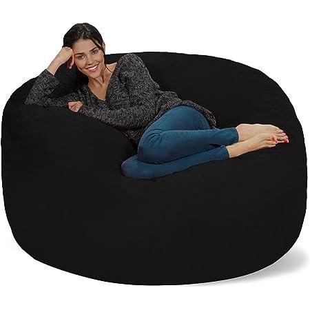 Chill Sack Bean Bag Chair: Giant 5' Memory Foam Furniture Bean Bag - Big Sofa with Soft Micro Fiber Cover - Black