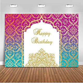 Mocsicka Happy Birthday Backdrop for Photography 7x5ft Vinyl Arabian Moroccan Theme Birthday Party Decoration Photo Backdrops Arabian Nights Party Photography Background