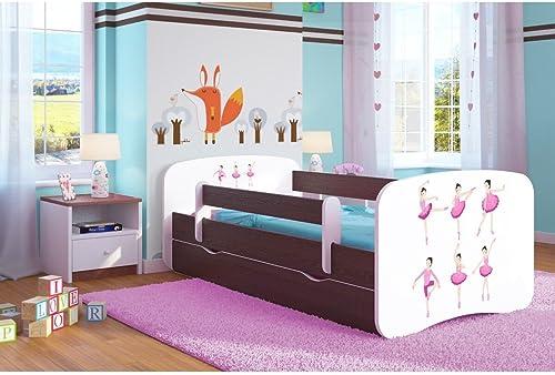 CARELLIA 'Kinderbett 80cm   x 180 t Schubladen Lattenroste Matratze inkl. Kommode Ballerina Wenge