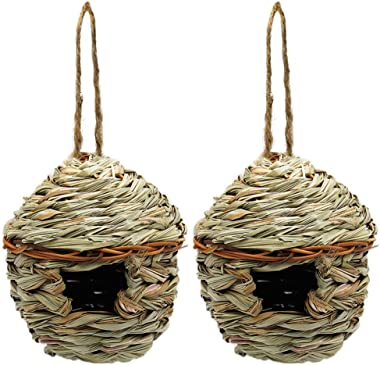winemana Grass Hand Woven Birdhouse, Outside Grass Hanging Bird Hut, Natural Hummingbird Nest for Outdoor, 2 Pack (Reed)