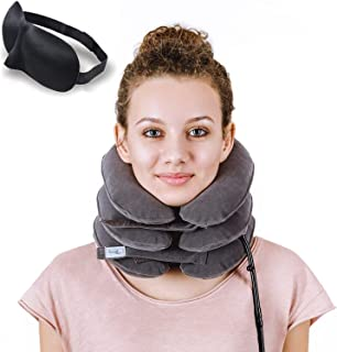 DaviSMART Cervical Neck Traction ✮ Effective Neck Pain Remedy at Home ✮ Inflatable & Adjustable Neck Stretcher Collar Device + Eye Mask Bonus ( Gray )