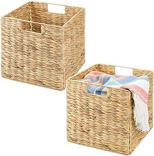 mDesign boîte de rangement (lot de 2) – panier tressé pliable en eichhornia – panier pour vêtements, jouets ou magasines –...
