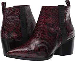 Wine/Black Snake Print Leather
