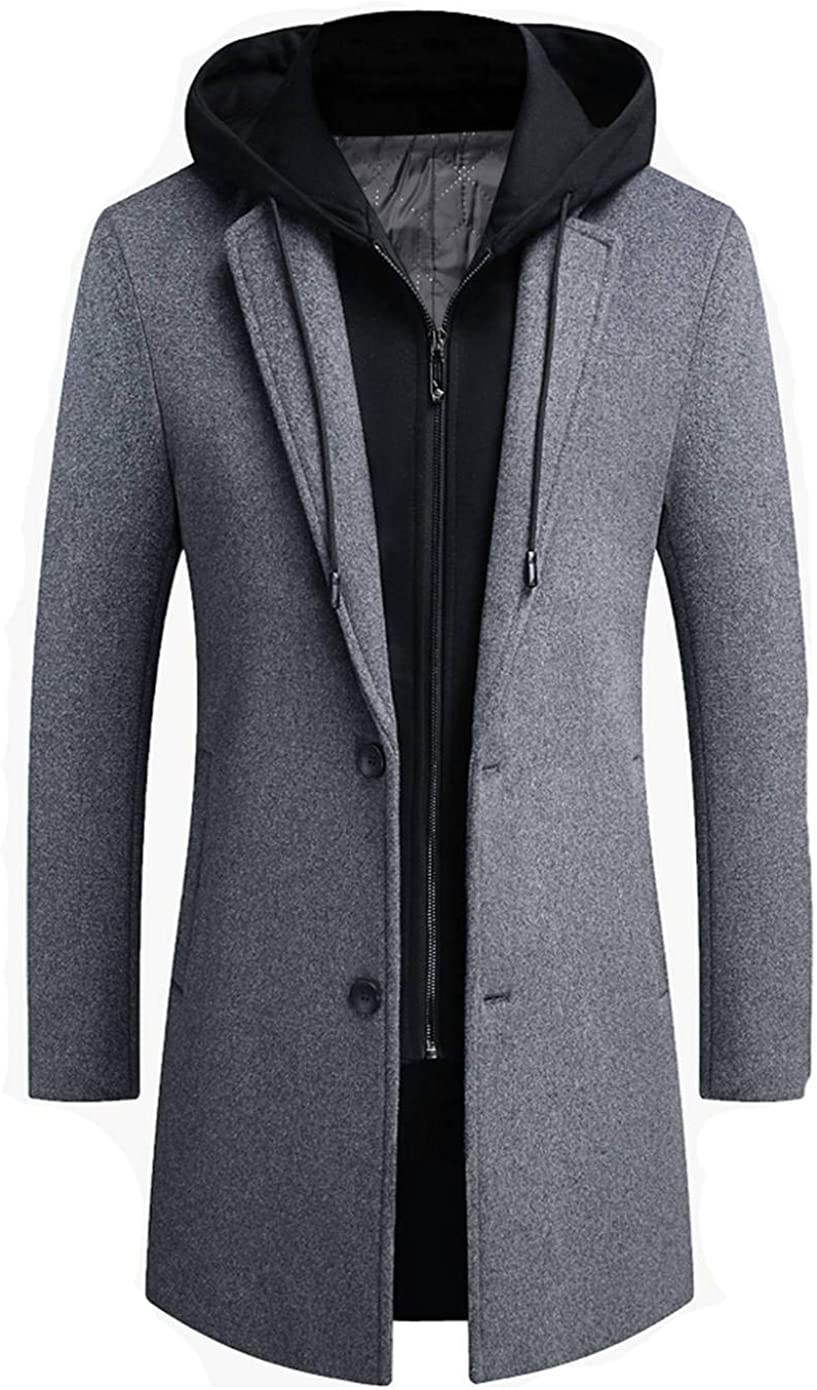 Soluo Mens Trench Coat Wool Blend Top Pea Coat Winter Long Single Breasted Overcoat Classic Hooded Jacket (Gray,X-Large)