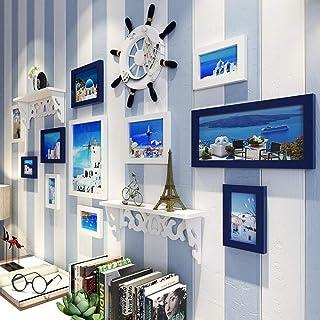 LONGWDS Marco de Fotos Mediterráneo Photo Pared Decorativos Salón Dormitorio de Imagen Photo Frame Marco Combinación Decor...