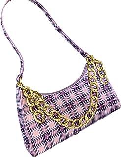 Neue exquisite weibliche Größe Achsel Tasche elegante Retro karierte dicke Kette Umhängetasche tragbare