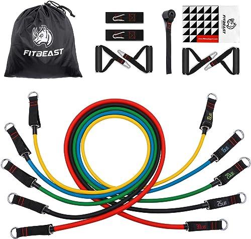 FitBeast Bandes de Résistance d'exercice, Kit de Bandes D'étirement avec 5 Tubes Fitness, 4 Poignées en Mousse, Sangl...