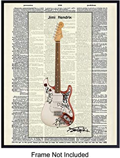 Jimi Hendrix Guitar Upcycled Dictionary Wall Art Print - Vintage 8x10 Unframed Photo - Great Gift For 60s Music, Woodstock, Fans, Musicians, Guitarists - Chic Home Decor