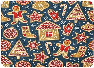 クリスマス冬パターンジンジャーブレッドクッキー素晴らしい休日のクリスマス屋内屋外ドアマットラグフロアマット滑り止め寝室用バスルームリビングルームキッチン23.6×15.7インチ家の装飾