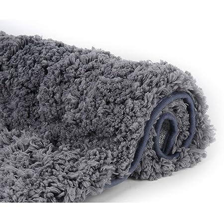 Amazon Com Bathroom Rugs Microfiber Plush Bath Mat Machine Washable Slip Resistance Rubber And Absorbency Bath Rugs For Bathroom Floor Door And Sink Rectangular Floor Mat Grey 32 X 20 Home Kitchen