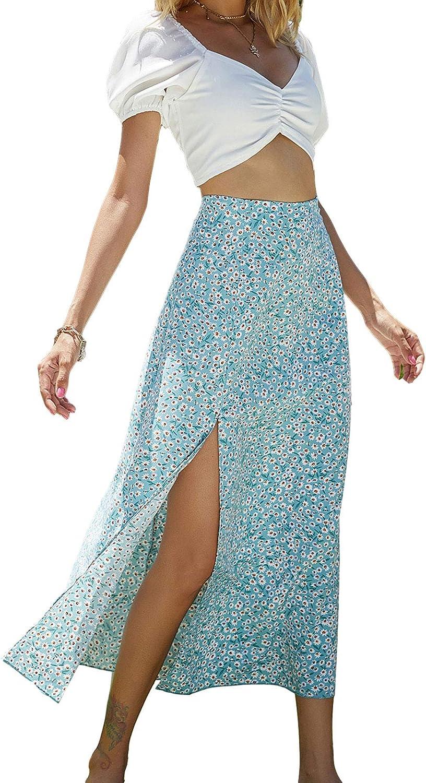 Women Bohemian Floral Midi Skirt Rustic High Waist Side Slip Skirt Streetwear Y2k E-Girl 90s Aesthetic