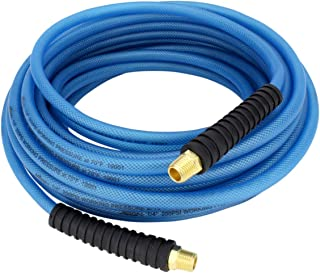 "Milton (1623-2) FLEX HOSE Lightweight braided ""polyurethane"" hybrid air hose 50 ft. x 1/4"" ID, 200 PSI with ¼"" MNPT brass fitting , Blue"