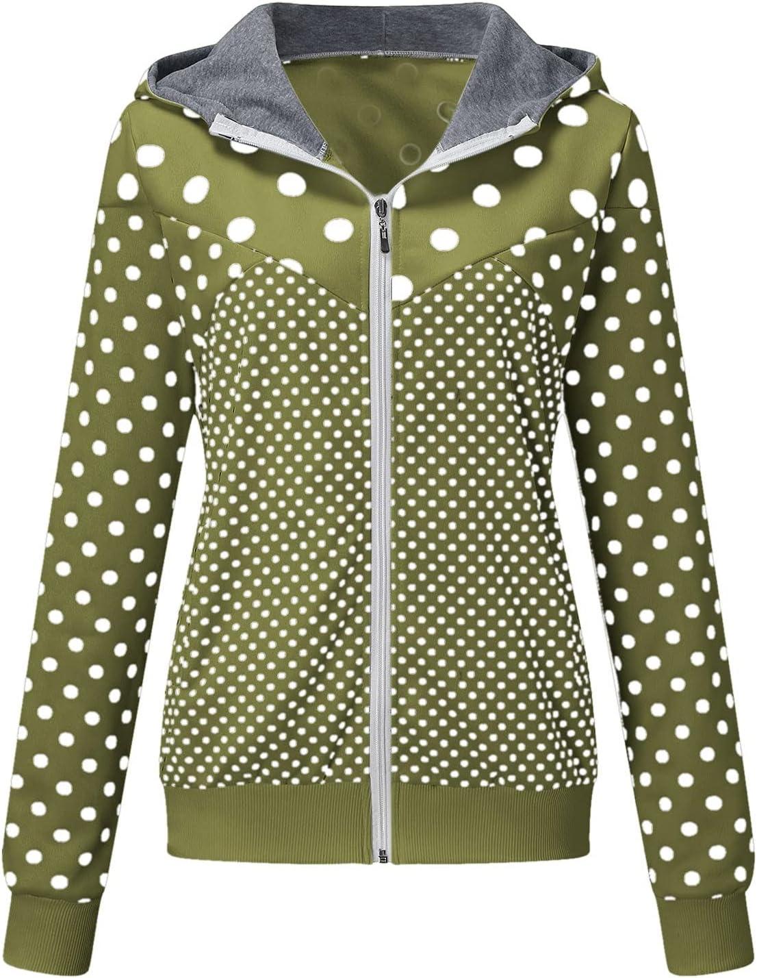 Tenworld Women's Casual Zip Up Dot Print Hoodie Pockets Sweatshirt Long Sleeve Coat