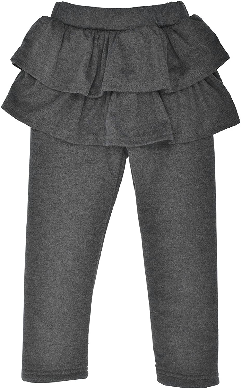 YING LAN Kids Girls Elastic Waist Fleece Lined Leggings With Ruffle Tutu Skirt Pink