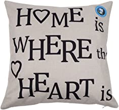 DolphineShow Unique Pillow Shams Gifts for Lover Printed Cotton Linen Square HOME IS WHERE THE HEART IS Pattern Sofa Simple Home Decor Throw Pillow Cases Cushion Cover 18x18