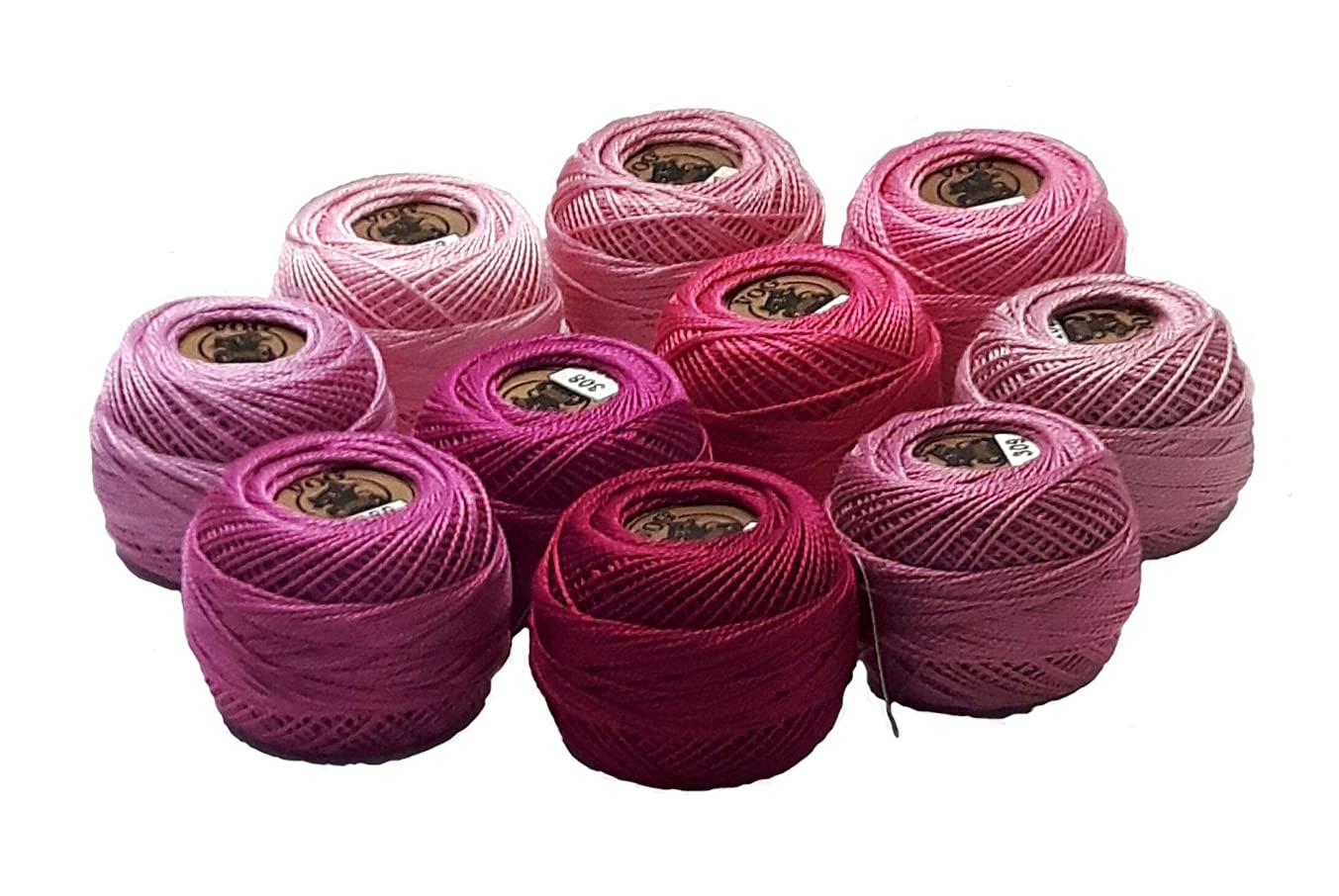Vog Perle Cotton Size 8 Embroidery Threads - Set of 10 Balls (10gr Each) - Pink Shades (Column No. 2)