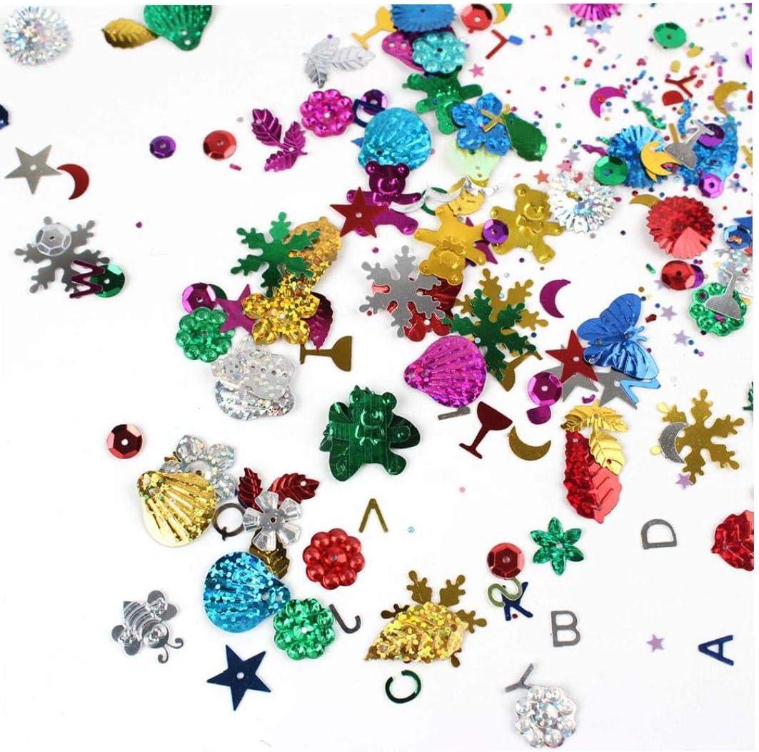 Zonfer 30 G//Paquete De Chrismas De Lentejuelas Mixtos Una Variedad De Colorido Formas Lentejuelas Arte del Arte Hecho a Mano DIY Ropa Sombrero Bolsas Decoraci/ón