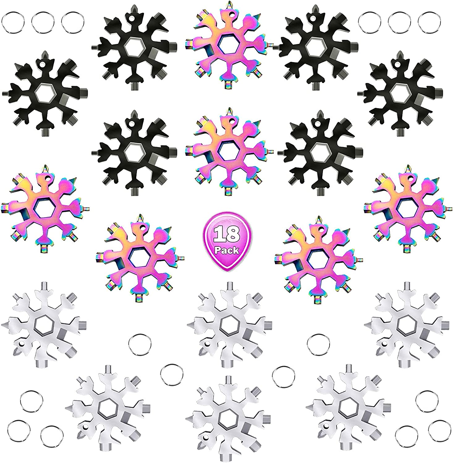18-in-1 Snowflakes Multi Tool Steel Keychain Stainless New arrival Max 65% OFF Multitoo