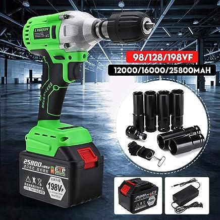 110-240V 98/128/198VF Electric Brushless Cordless Impact Wrench Drill Socket Battery 12000mAh/16000mAh/25800mAh US Plug Power : 198vf Electric