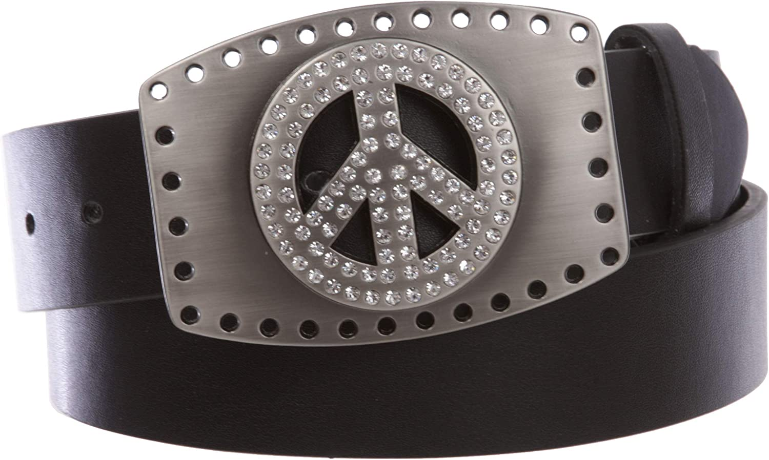 1 1 2  Snap On Rhinestone Peace Sign Hollow Out Buckle With Leather Belt, Black   M 34 36