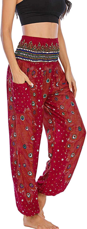 Hotkey Yoga Pants for Women, Thai Harem Pockets Exercise Yoga Trousers Wide Leg Lounge Lantern Boho Hippy Pants