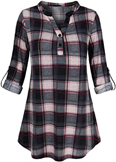 Women Button Down Shirts 3/4 Rolled Sleeve Henley Neck Blouse Collar Plaid Tunic Tops