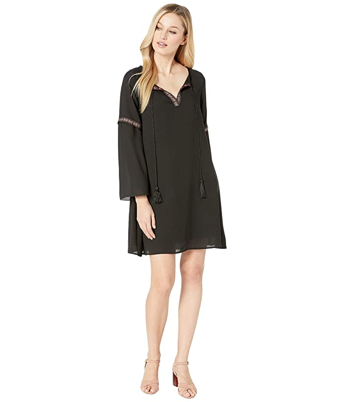 American Rose Acacia V-Neck Dress with Tassels (Black) Women