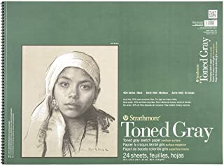 """Strathmore 412-118 400 Series Toned Gray Sketch Pad, 18""""x24"""" Wire Bound, 24 Sheets"""