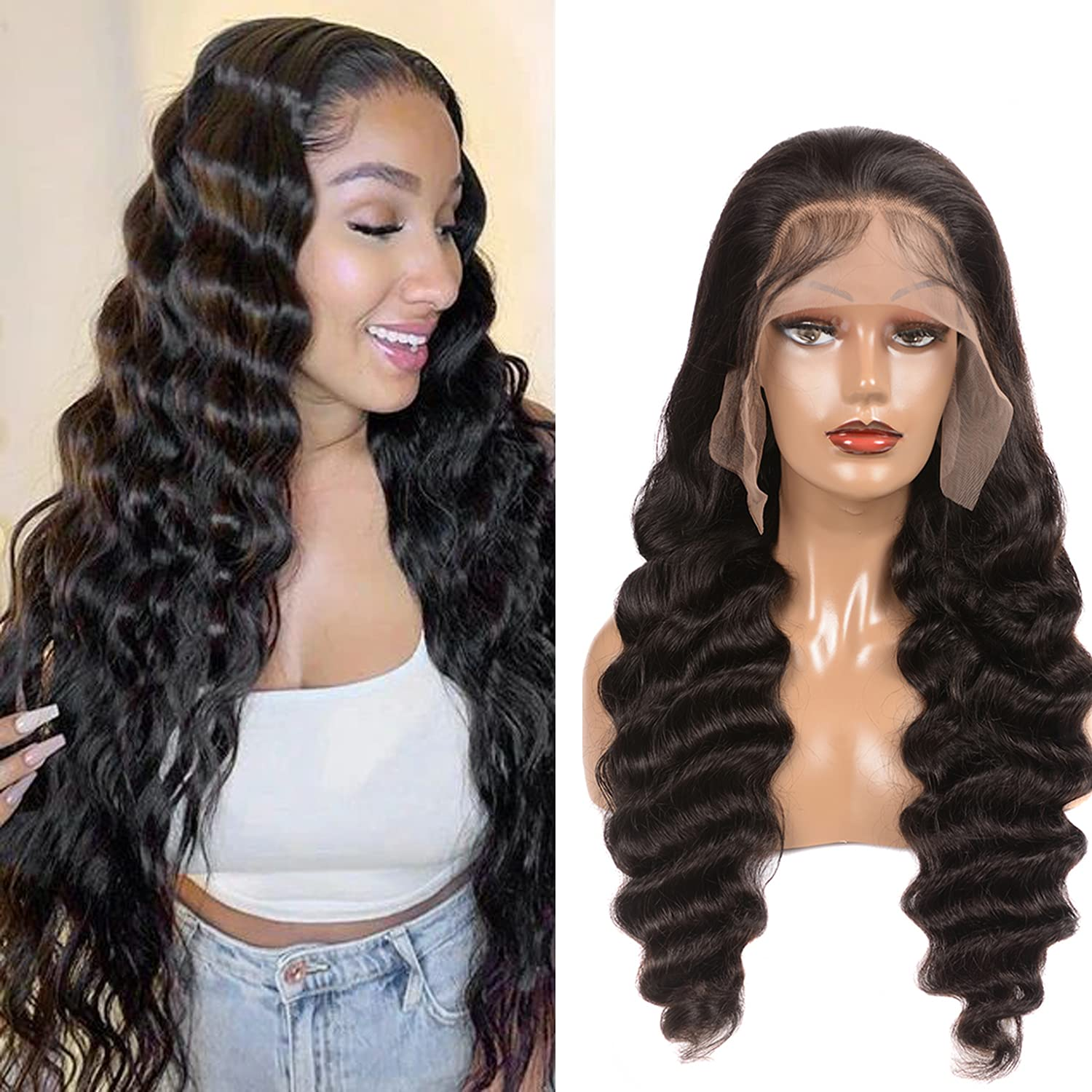 HD Lace Front Wigs Human Wave Deep Loose 百貨店 訳あり商品 Frontal Hair