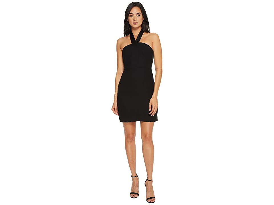 CeCe Riley- Halter Dress with Satin Trim (Rich Black) Women