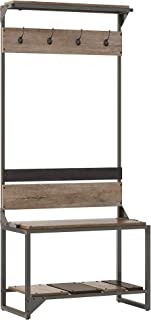 Bush Furniture  Refinery Hall Tree with Shoe Storage Bench, Rustic Gray