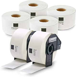 enKo [6 Rolls / 2400 Labels] Compatible for Brother DK1208 (1-1/2''x 3-1/2'') with 2 Cartridge Frame