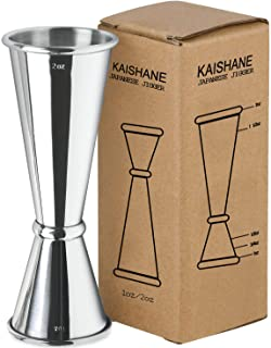 KAISHANE Japanese Style Double Cocktail Jigger, 304 Stainless Steel 1oz-2oz Measuring Cup for Bar Home Bartender Party Win...