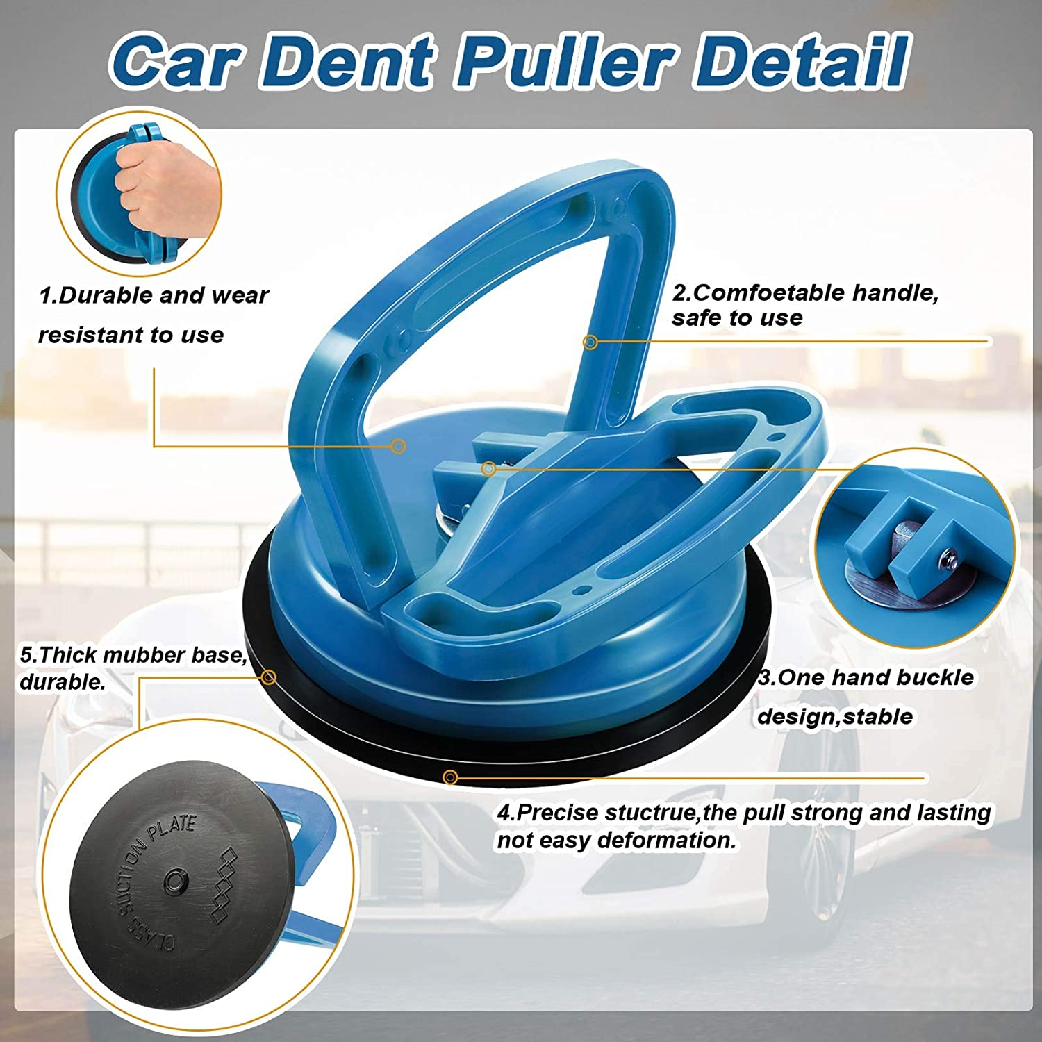 Moving Glass Tiles Mirror Granite Lifting Black 2 Pieces 4.7 Inch Car Dent Puller Remover Suction Cups Car Dent Puller Handle Lifters Car Dent Pullers for Repairing Cars