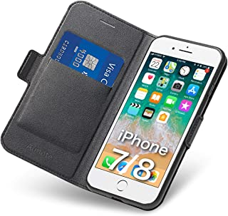 Aunote iPhone 8 Case Wallet, iPhone 7 Case with Card Holder, Ultra Slim Flip Filio PU Leather iPhone 8 Phone Case, Full Protective Cover 7 iPhone Case for Apple 4.7 inch Phone Black