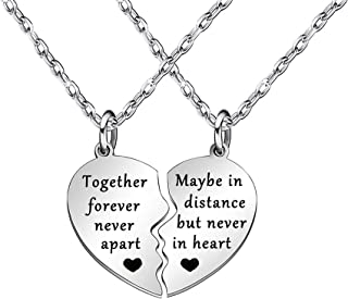 Together Forever Never Apart Maybe in Distance but Never in Heart Best Friends Necklaces BFF Sister Friendship Couples Jewelry Sets