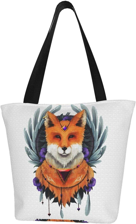 Fox Animal Brown Art Themed Printed Women Canvas Handbag Zipper Shoulder Bag Work Booksbag Tote Purse Leisure Hobo Bag For Shopping