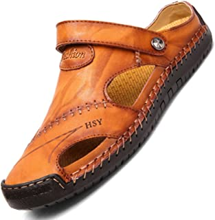 CHUIKUAJ Tongs Sandales Homme Flip Flops Sandales en Cuir de Trou de Loisirs D'été/Pantoufles de Plage de Baotou/Mode Marc...